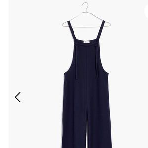 Madewell Tie-strap Bibs Jumpsuit Navy Blue Ribbed
